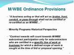 m wbe ordinance provisions