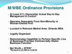 m wbe ordinance provisions1