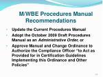 m wbe procedures manual recommendations