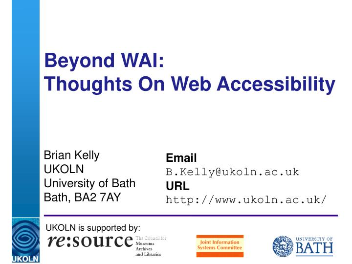 beyond wai thoughts on web accessibility n.