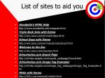 list of sites to aid you
