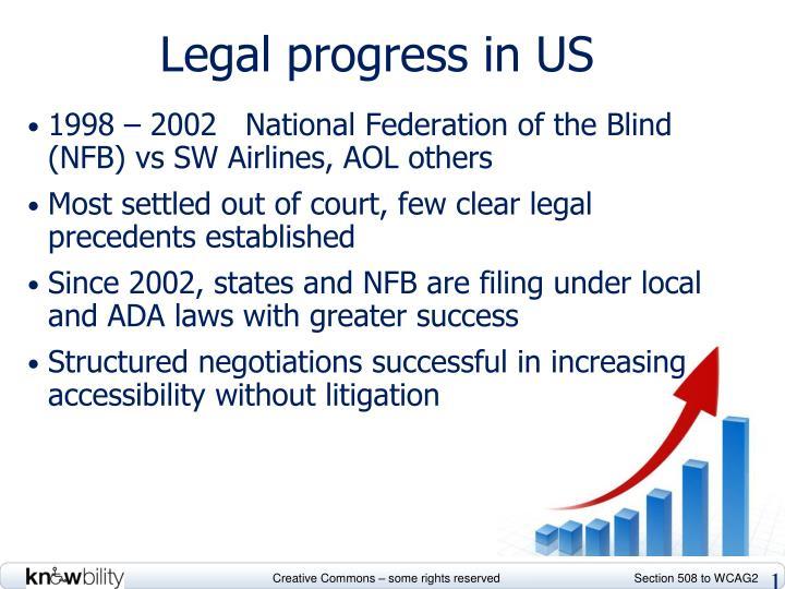 Legal progress in US