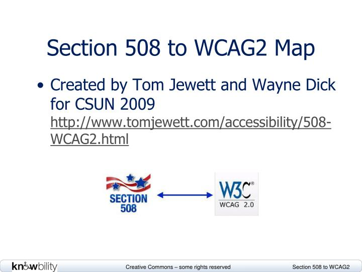 Section 508 to WCAG2 Map
