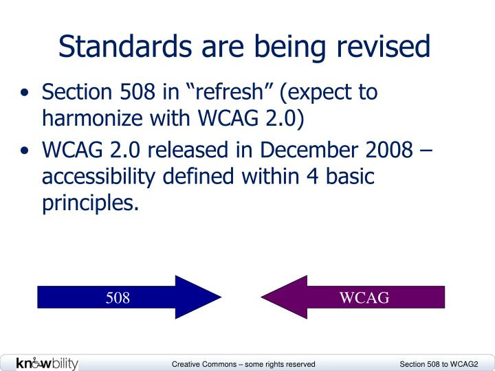 Standards are being revised