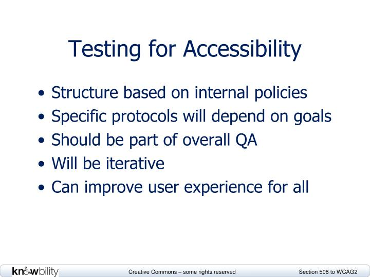 Testing for Accessibility