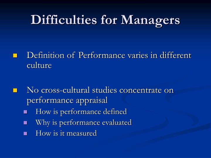 Difficulties for Managers