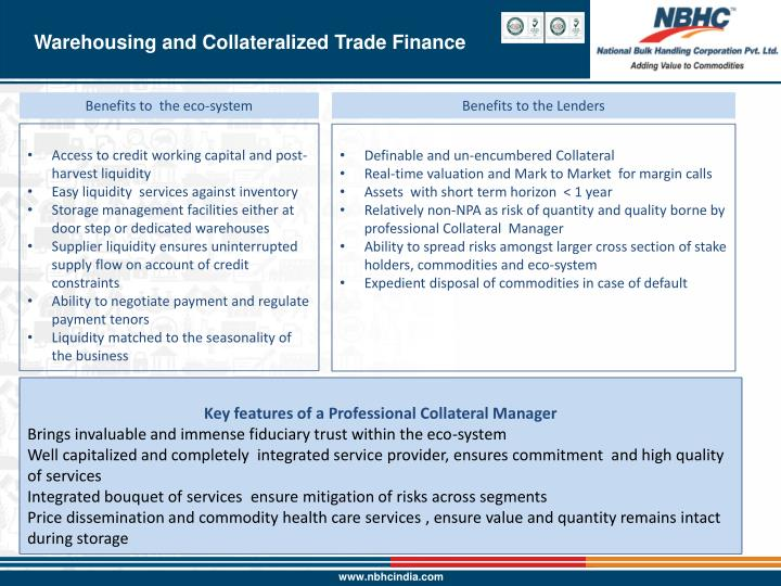 Warehousing and Collateralized Trade Finance