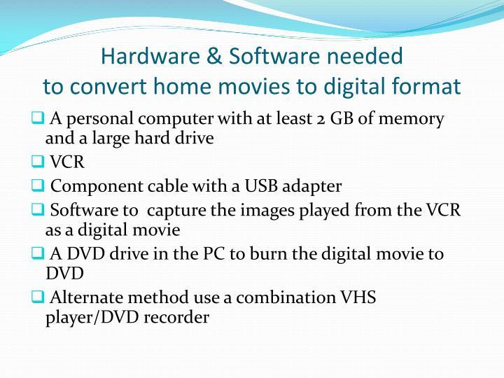 Hardware & Software needed
