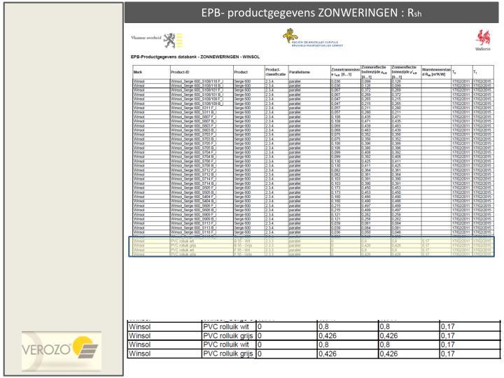 EPB- productgegevens ZONWERINGEN : R
