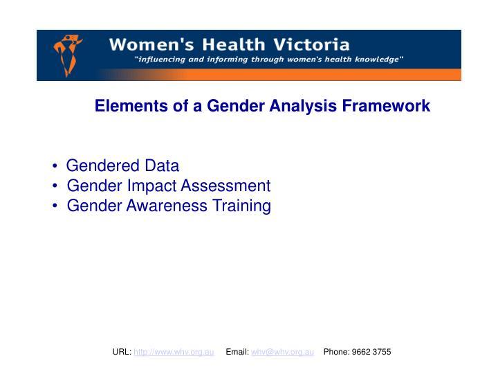 Elements of a Gender Analysis Framework