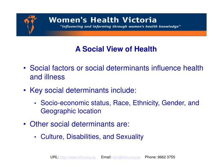 A Social View of Health