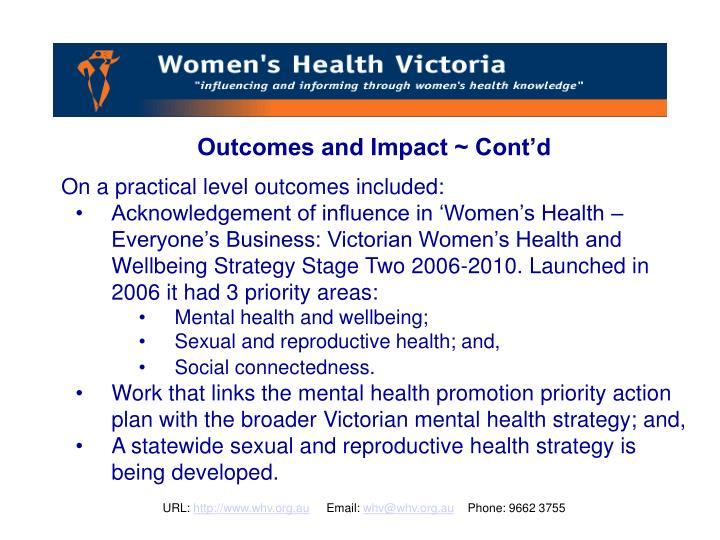 Outcomes and Impact ~ Cont'd