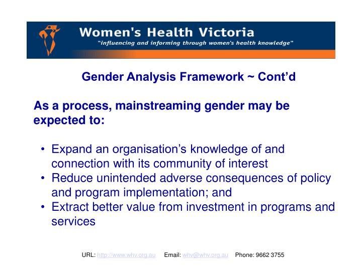 Gender Analysis Framework ~ Cont'd