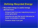 defining recycled energy