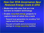 how can wva governance spur reduced energy costs ghg