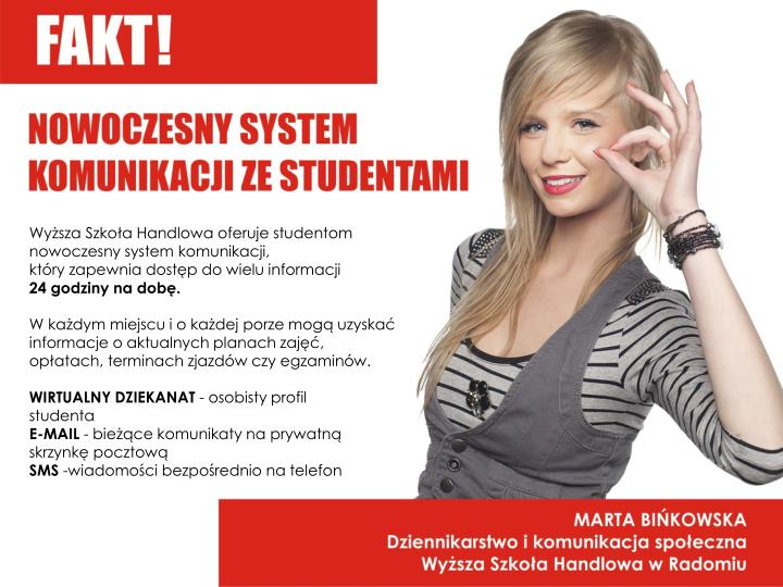 Wyższa Szkoła Handlowa oferuje studentom nowoczesny system komunikacji,