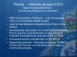 priority minority groups coi s appoint dedicated officer community relations co ordinator