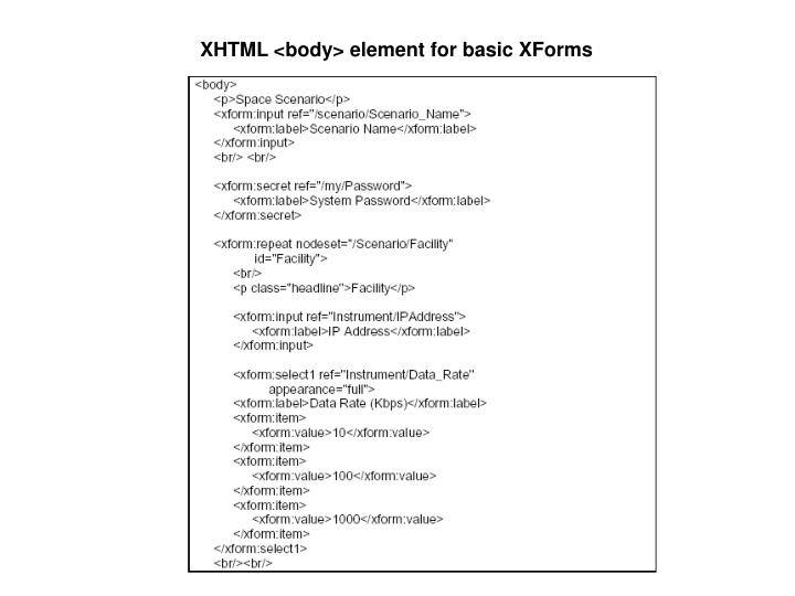 XHTML <body> element for basic XForms
