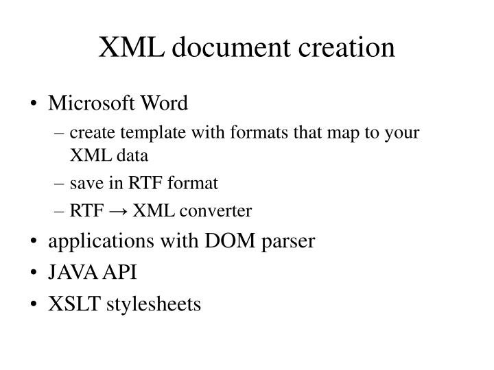 XML document creation