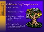 california a g requirements