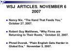 wsj articles november 6 2007
