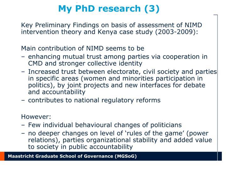 My PhD research (3)