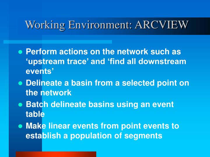 Working Environment: ARCVIEW