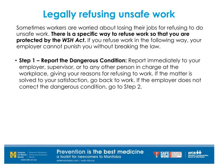 Legally refusing unsafe work