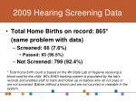 2009 hearing screening data
