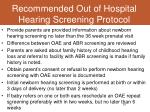 recommended out of hospital hearing screening protocol
