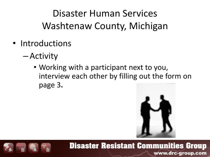 Disaster human services washtenaw county michigan