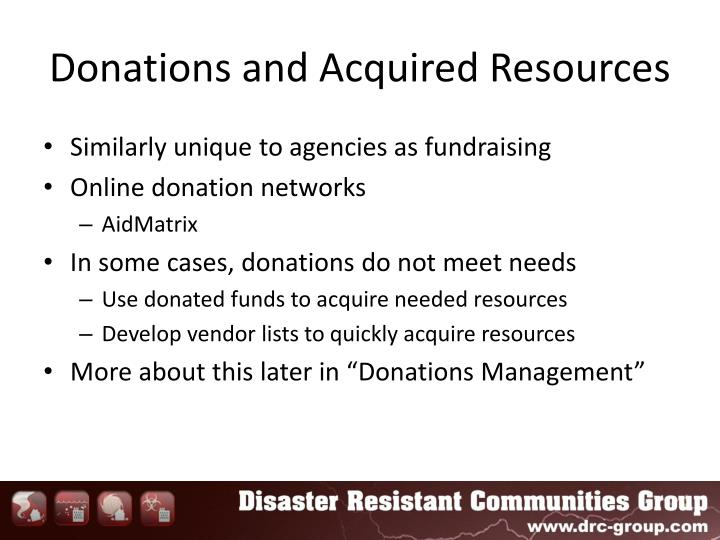 Donations and Acquired Resources