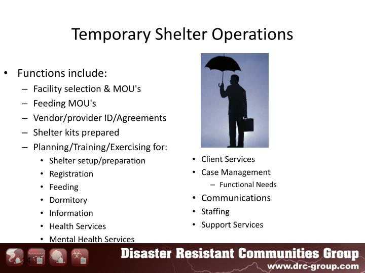 Temporary Shelter Operations