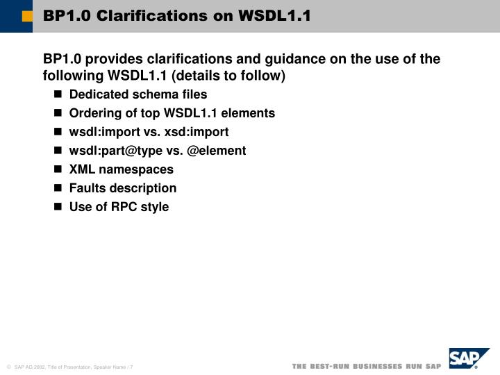 BP1.0 Clarifications on WSDL1.1