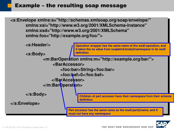 Example – the resulting soap message