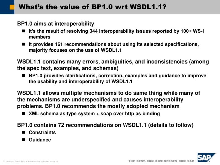 What's the value of BP1.0 wrt WSDL1.1?