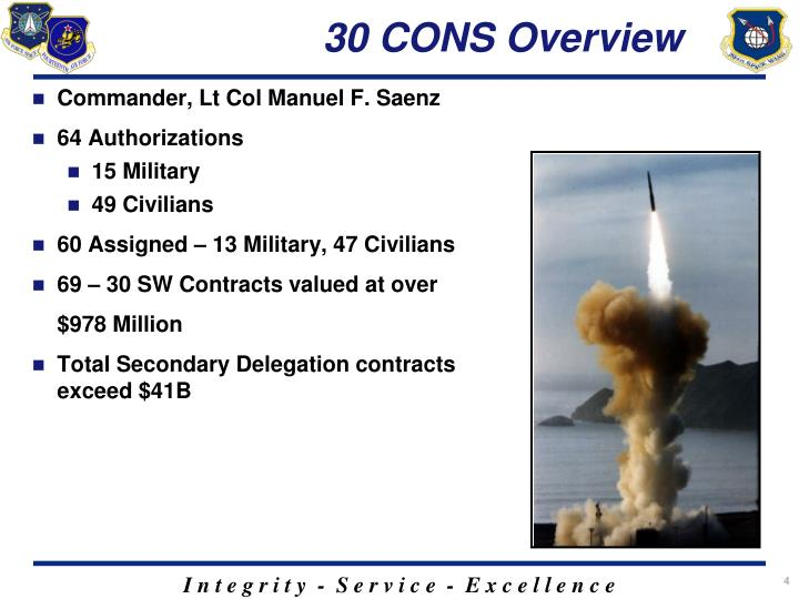 30 CONS Overview