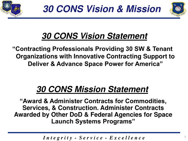 30 cons vision mission
