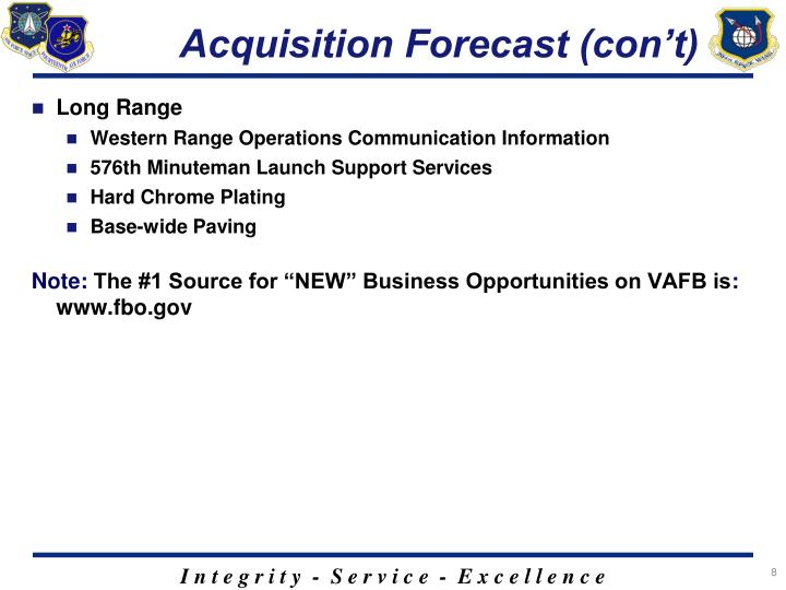 Acquisition Forecast (con't)