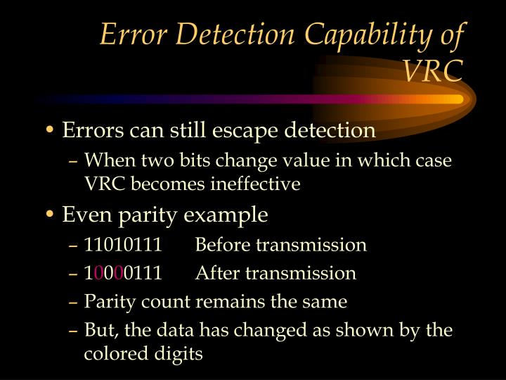 Error Detection Capability of VRC