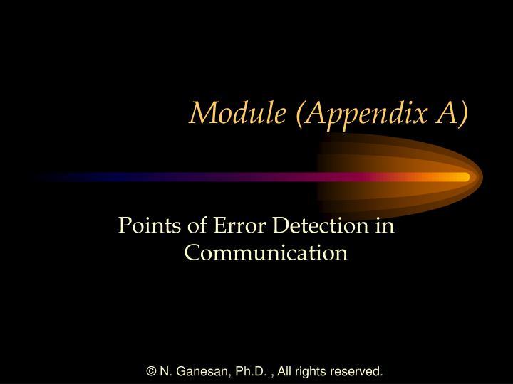Module (Appendix A)