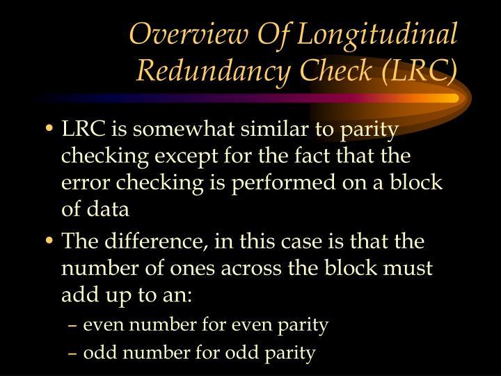 Overview Of Longitudinal Redundancy Check (LRC)