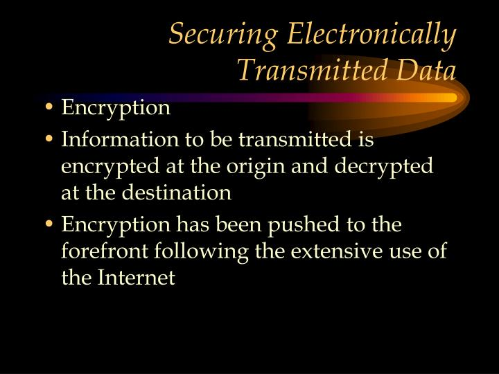 Securing Electronically Transmitted Data