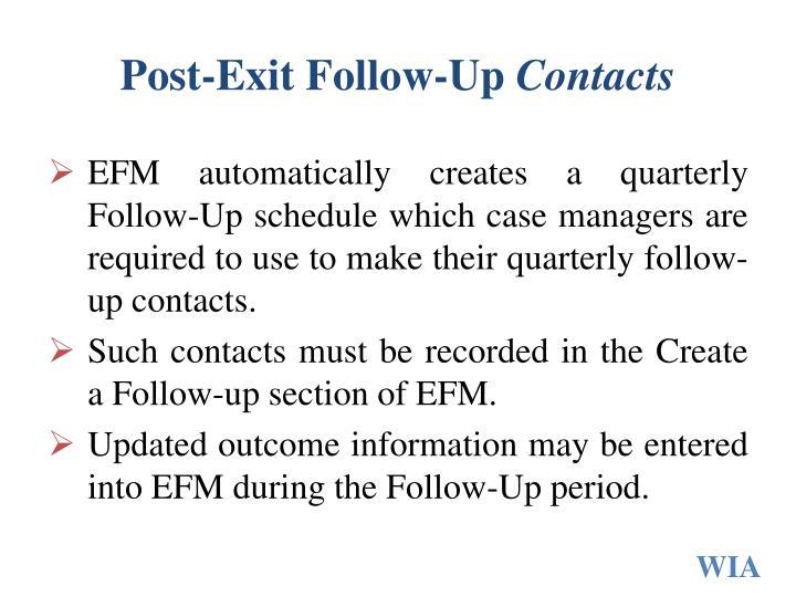 Post-Exit Follow-Up