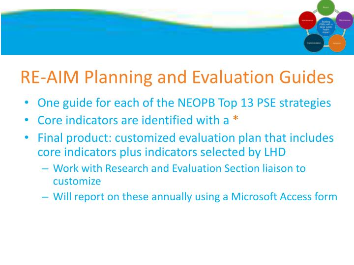 RE-AIM Planning and Evaluation Guides