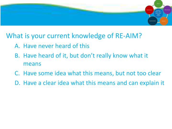 What is your current knowledge of RE-AIM?