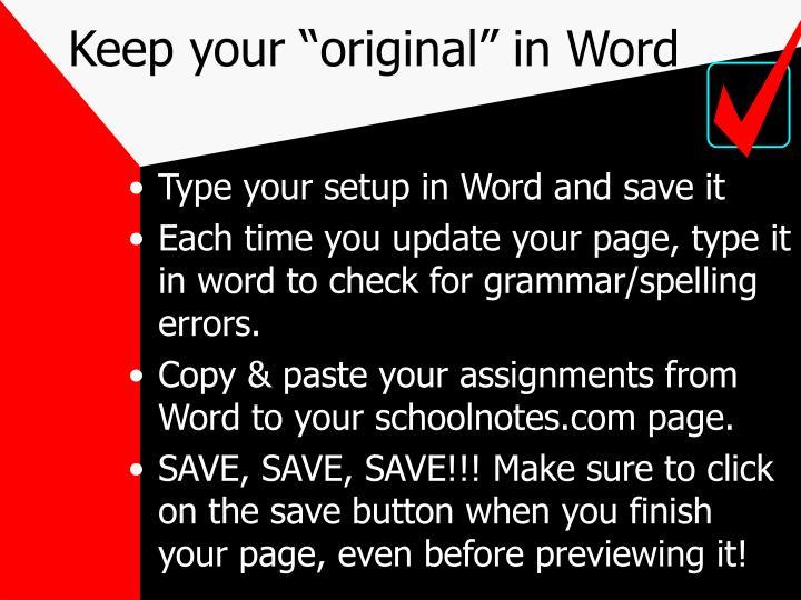 "Keep your ""original"" in Word"