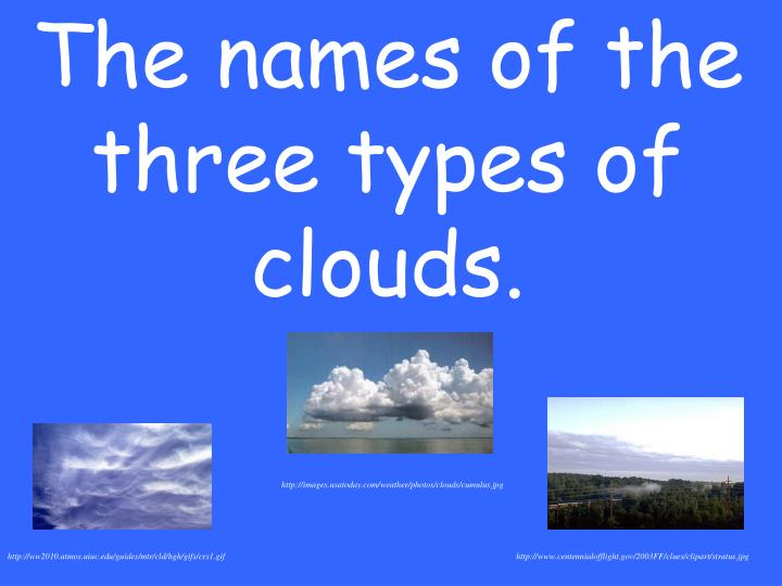 The names of the three types of clouds.