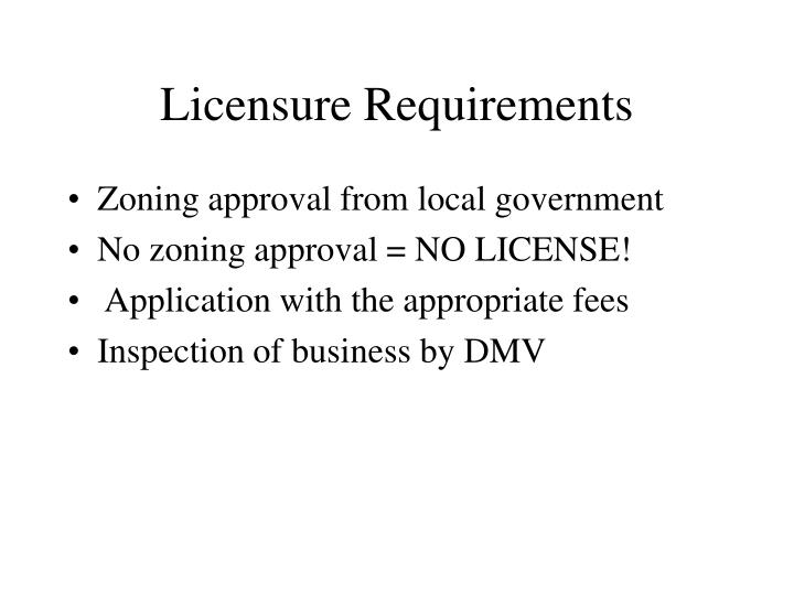 Licensure Requirements