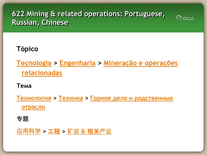 622 Mining & related operations: Portuguese, Russian, Chinese